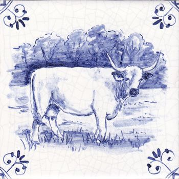 Farm Animal Ceramic Tiles Hand Painted In Blue And White