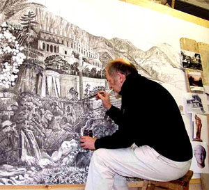 Mike Francis painting the Classical Landscape