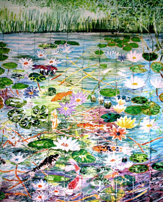 Koi carp and waterlillies murals for shower room