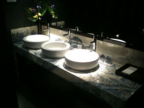 Chinese landscape tiling for Chinawhite Nightclub vanity unit