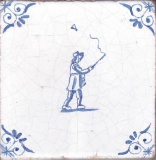 'Antiqued' delft tiles